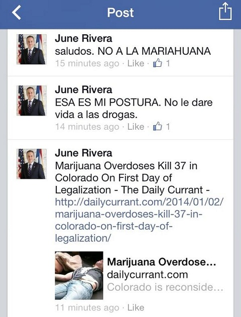 Imagen del post de June Rivera en Facebook